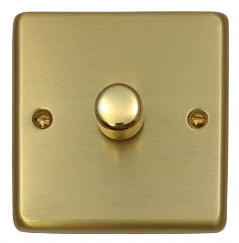G&H CSB15 Standard Plate Satin Brushed Brass 1 Gang 1 or 2 Way 700W Dimmer Switch Single Plate